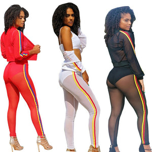 Mesh Tracksuit Women 2 Two Piece Set Long Sleeve Zipper Sheer Top Pants Suits See Through Two Piece Outfits Sexy Sweat Suits
