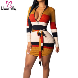 Multicolor Striped Bodycon Dress Women Long Sleeve Deep V Neck Nightclub Party Dresses Autumn Winter Front Zipper Vestidos