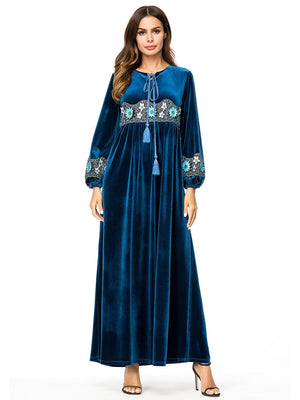 Muslim Women Long Sleeves Velvet Embroidery Dubai Dress Maxi Abaya Jalabiya Islamic Women Clothing Robe Kaftan Moroccan 7300