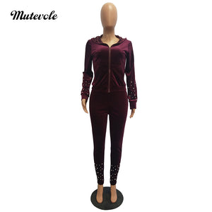 Autumn Casual Velvet Tracksuit Sets Solid Velour Fitness Set Workout Zipper Hooded Two Piece Pants Outfits
