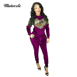 Autumn Woman Long Sleeve Velvet Two Piece Set Sequin Top Pants 2 Piece Set Pullover Drawstring Trousers Outfit Set