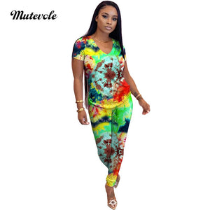 Fashion Outwear Print 2 Piece Set Women Summer Bodycon Two Piece Outfit Set Casual V Neck Shirt Top Pant 2pcs Set