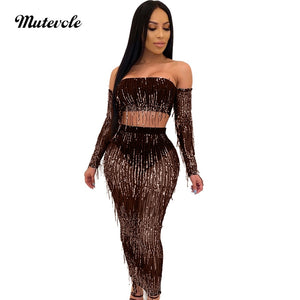 Fashion See Through Sexy Two Piece Clubwear Women Tassels 2 Piece Sequin Set Off Shoulder Transparent Mesh Party Set