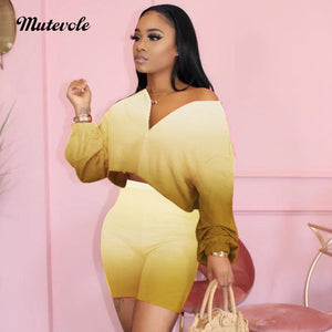 Fashion Sexy Gradient Color 2pc Outfits Women Summer Bodycon Two Piece Short Set Casual Long Sleeve Zipper Crop Top Set