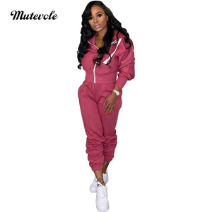 Fashion Women Autumn 2pcs Tracksuit Long Sleeve Zipper Hooded Sweatshirt Pants Set Casual Bodycon Fitness Two Piece Set