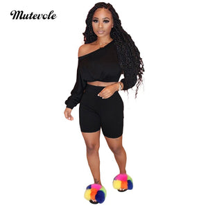 Plus Size Summer 2 Piece Shorts Set Women Casual Bodycon Two Piece Outfits Long Sleeve Slash Neck Crop Top 2pcs Set