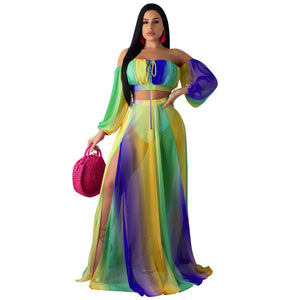 See Through Chiffon Two Piece Long Dress Women Crop Top Skirt 2 Piece Outfit Set Sexy Transparent Mesh Party Set