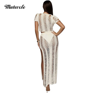 Sexy Beachwear Women Crochet Two Piece Set Hollow Out Crop Top Long Skirt 2 Piece Outfits Summer Knitting Dress
