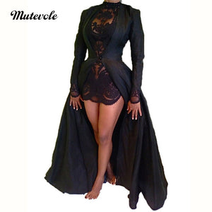 Sexy Black Chiffon Two Piece Dress Set Women Full Sleeve Trench Dress See Through Mini Dress Fall 2 Piece Mesh Set