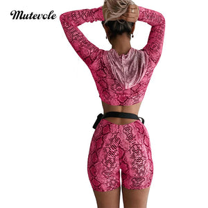 Snake Print Sexy Two Piece Short Set Women Long Sleeve Hooded Crop Top 2 Piece Outfit Set Bodycon Zipper Short Outfits