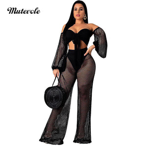 Solid Crochet Cover Up Two Piece Mesh Set Women Sexy Hollow Out Summer Beach Wear Long Sleeve Crop Top Pants Set