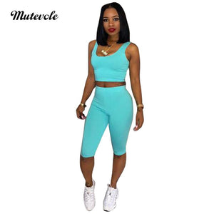 Solid Two Piece Tracksuit Set Women Sleeveless Crop Top Shorts 2 Piece Outfits Set Summer Sexy Sporting Pants Set