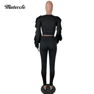 Spring Autumn Bodycon Two Piece Ruffle Set Women Casual Solid 2 Piece Outfit Set Long Sleeve Crop Top Pants Set