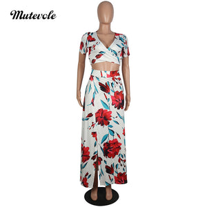 Summer Sexy 2 Piece Skirt Sets Fashion Two Piece Print Outfits Cross Bandage Crop Top Floral Maxi Skirt Set