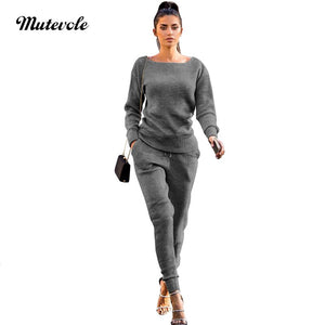 Women Autumn 2 Piece Knitted Set Casual Solid Two Piece Ribbed Set Pullover Top Drawstring Pants Outfits