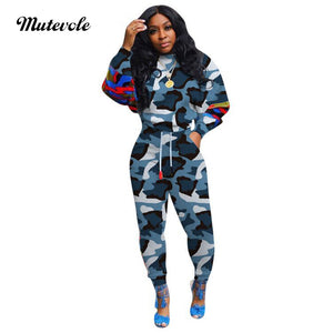 Women Casual Camouflage Two Piece Set Plus Size Patchwork 2 Piece Fitness Set Fashion Sweatshirts Sweatpants 2pc Outfit