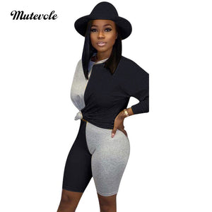 Women Patchwork Bodycon Two Piece Set Casual Long Sleeve Pullover Short Set Fashion Autumn Sexy 2 Piece Outfit Set