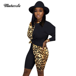 Women Plus Size Leopard Print Outfit Sets Sexy Patchwork Long Sleeve Top Shorts Set Casual 2 Two Piece Set