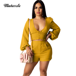 Women Ruched Two Piece Casual Set Lantern Sleeve Crop Top Shorts Sets Fashion Bodycon Ruffle 2 Piece Set
