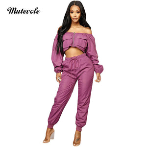 Women Sexy Two Piece Outfits Pants Set Long Sleeve Off Shoulder Crop Top 2 Piece Set Pocket Drawstring Trousers Set