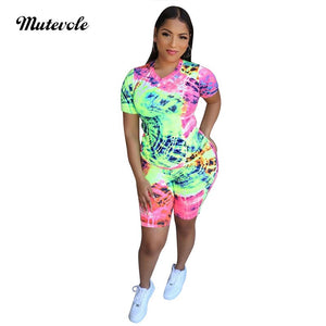 Women Summer 2 Piece Fashion Short Set Casual Bodycon Print Two Piece Set Graffiti O Neck Top Pant Streetwear