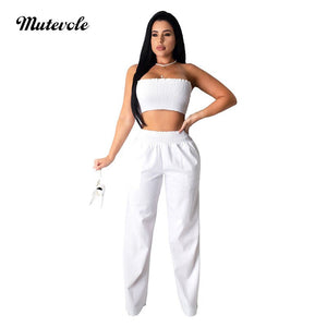 Women Summer Sexy Strapless Two Piece Set Solid Crop Top Elastic Waist Pants Sets Casual Bodycon Plain 2 Piece Set