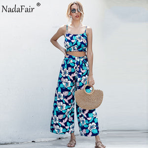 Floral Summer Beach Two Piece Set Women Boho Spaghetti Strap Crop Top Pants Casual Print Outfit 2 Piece Women Set