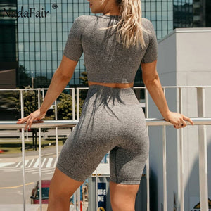 Sexy Knit Two Piece Set Crop Top Biker Shorts Bodycon Tracksuit Women Matching Sets Summer 2 Piece Club Outfit