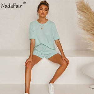 Summer Casual 2 Piece Women Set O Neck Short Sleeve Solid Tops Shorts Khaki Green Two Piece Set Woman Outfits