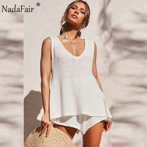Summer Two Piece Set Women 2020 Solid Casual Outfits Summer Beach Tank Top Shorts 2 Piece Women Set White