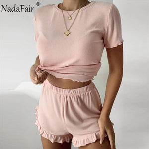 Two Piece Set 2020 Summer Casual Women Set O Neck Solid Tops Shorts Ruffles Ribbed Knit 2 Piece Sets Women Outfits
