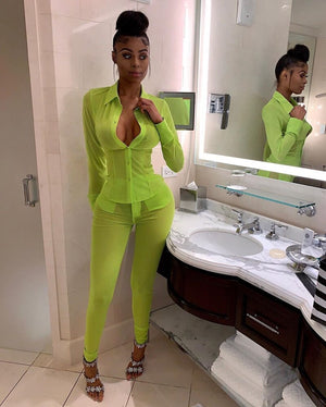 Neon Green Mesh Sexy Two Piece Set Top Pants Suit Summer Women Jacket Pants Set Bodycon 2 Piece Matching Set Club Outfit