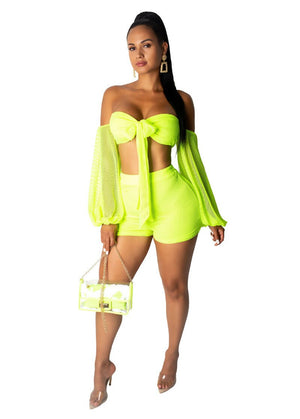 Neon Green Sexy Short Two Piece Set Women Crop Top Shorts Set Summer Clothes 2 Two Piece Matching Sets Party Club Beach Outfits