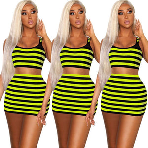 Neon Green Striped Two Piece Set Women Sexy Mini Skirt Set Summer Clothes Tank Crop Top Short Skirt Set Party Club Outfits