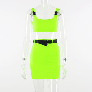 Neon Green Women Two Piece Skirt Sets Summer Clothes Buckle Crop Top Sexy Short Skirt Sets Casual 2 Piece Set Outfits