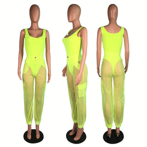 Neon Two Piece Set Top Pants Tracksuit Women Festival Clothing Bodysuit Cargo Pants Mesh Summer 2 Piece Sexy Club Outfits