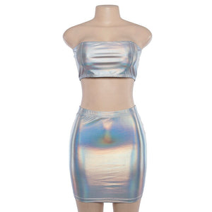 Neon Rave Two Piece Set Club Outfits Matching Sets Festival Clothing Holographic Strapless Crop Top Skirt Set Biker Shorts
