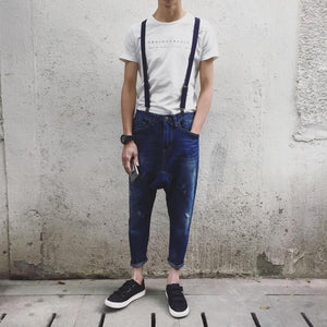 Men'S Casual Pocket Light Blue Denim Overalls Drop Crotch Casual Harem Jeans Jumpsuit Hiphop Suspenders Jeans 060704