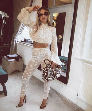 Fashion Casual Mesh Spotted Folds Two-piece Set Long-sleeve TopPencil Pattern Pant Perspective Streetwear Women Suit Spring