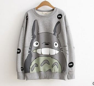 Fashion Thicken Women Cartoon Totoro Hoodie Harajuku 3D Pullover Tops Autumn Winter Long Sleeve Fleece Sweatshirt 121502