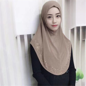 Muslim Islamic Long Hijab Scarf Chiffon Scarf Woman Amira Cap Surround Drill With Stones