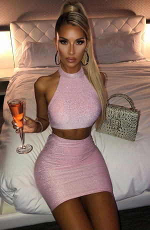 Party Two Piece Set Halter Backless Sexy Skirt Set Double Layers Stretch Slim 2 Piece Set Women Club Outfits Red Pink Black
