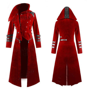 Scorpion Mens Coat Long Jacket Gothic Steampunk Hooded Trench Medieval Cosplay Costume