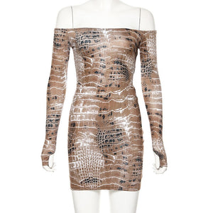 Sexy Snake Print Matching Set Women Off Shoulder Fashion 2019 Two Piece Outfits Long Sleeve Bodysuit Skirt Sets
