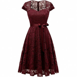 Summer Dress Short Sleeve Women'S Office Lace Dress VNeck Hollow Red Black White Ladies Casual Dress Vestidos