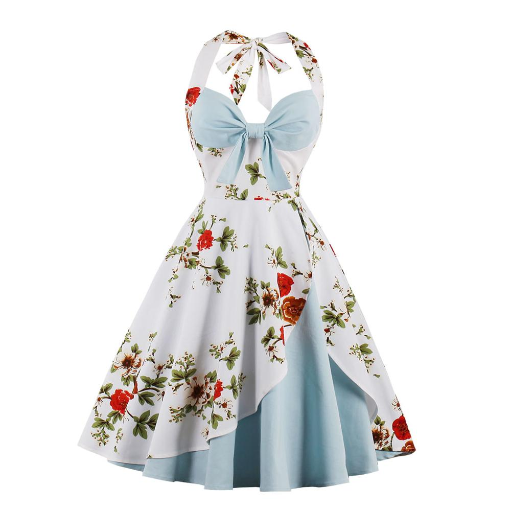 Women 1950S Vintage Dress Plus Size Floral Print Pin Up Halter Summer Dresses Retro 50S Rockabilly Party Feminino Vestidos