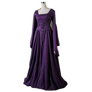 Women'S Fashion Vintage Celtic Long Sleeve Medieval Dress Floor Length Renaissance Gothic Cosplay Halloween Costume Dress