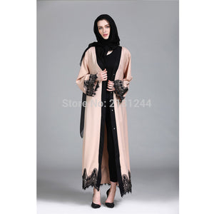 Abaya Lace Long Sleeve Muslim Dress Islamic Turkish Women Clothing Djellaba Robe Dress