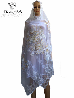 Design Net Scarf Embroidery Big Scarf White Gold Tulle Material Multifunctional Scarf Shawls Wraps
