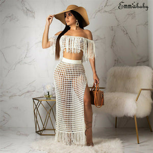 Fashion Sexy Women's Summer Casual Hollow Tassel Perspective High Open Beach Skirt Set Beach 2PCS Set Outfits